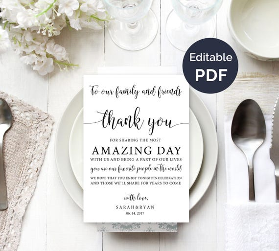thank you card wedding