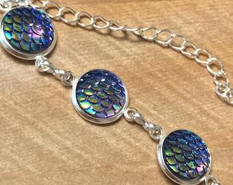 Scale Bracelet~ Silver bracelet~mermaid bracelet~Ice Bracelet~charm bracelet~silver charm bracelet~sparkle bracelet