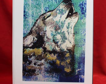 Abstract Wolf Print, Blue Timber Wolf Painting, Howling Wolf Print, Turquoise Wolf Original Wall Art, Wolf Gifts for Her, Him, Children