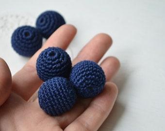 Navy Crochet beads 20 mm - 10 pcs - wood round beads, supplies crochet beads Dark blue handmade, ash wood,