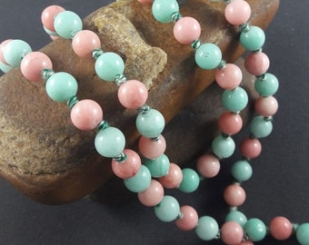 Summer Sale 50% Long Hand Knotted Beads Necklace , Knotted Beads Mala , Pink And Blue Color Knotted Beads Mala ( 36 Inch )