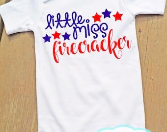 Little Miss Firecracker - Body ou T-Shirt - Girl Shirt - quatrième de juillet - Amérique - jour de l'indépendance
