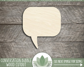 Wood Conversation Bubble, Cutout Craft Shapes, DIY Craft Supply, Many Size Options