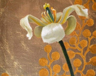 White Tulip original painting on gold leaf