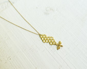 Honeycomb Silhouette with Bee Charm on Gold Plated Chain || Minimal Jewelry Pendant Necklace || Canadian Seller || Bee Happy