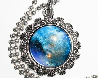 Blue Nebula Galaxy Stars Space Art Pendant, Universe Resin Photo Charm Necklace