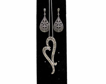 Vintage Sterling Silver Marcasite Jewelry Set - Ladies Sterling Marcasite Heart Necklace & Marcasite Dangle Earrings - 925 Marcasite Pendant