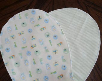 Yellow and green gender neutral burp cloth