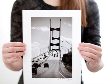Jacksonville Florida Bridge Photograph (6 x 9 inch Fine Art Print) Black & White City Photography