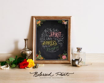 2 Corinthians 3:17 - Blessed Print, bible verse printable, printable art, wall art print, , chakboard quote print, wall decor other black