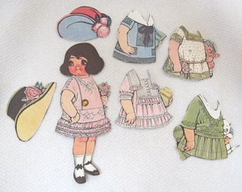 Older Dolly Dingle Paper Doll 8 PC Dress Dresses Hats Kitten Cute 6 1/2 Inches  T27