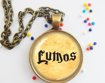 Lumos necklace, magic spell charm pendant, literary jewelry, word necklace, quote pendant, cosplay, fantasy