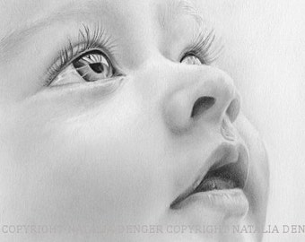 CUSTOM Portrait, Realistic Portrait, Family Gift, Grandmother, Baby, Special Gift, ORIGINAL 8x8 Drawing, Christmas Gift