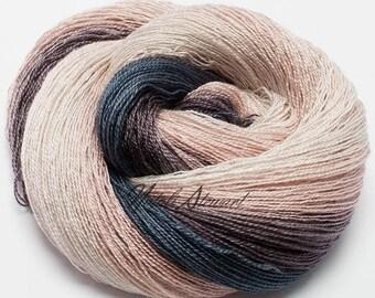 """Gradient Yarn """"Infinity"""" Hand Dyed Yarn for Knitting Leicester Blueface Wool Yarn & Silk Yarn"""