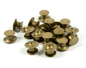 10 Pcs. Antique Brass Lapel Locking Pin Back Clutch 1 Hole Pins