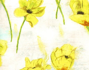 Michael Miller Fabrics Blooming Tulips in Yellow Fat Quarter by Laura Gunn