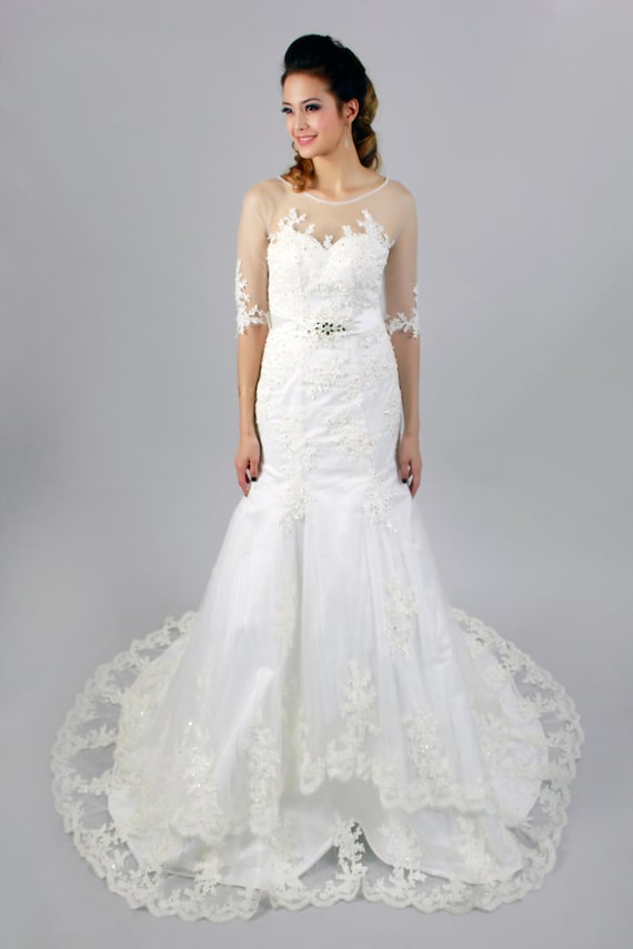 Half sleeves sweetheart neckline sheer top with lace for How to clean your own wedding dress