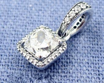 Timeless Elegance Charm Pendant, 100% 925 Sterling Silver & Clear CZ Dangle Fits to all Pandora Bracelets