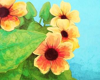 Colorful Yellow Flowers Digital Illustration Print