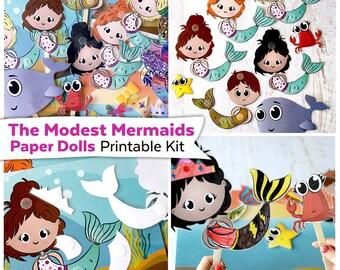 The Modest Mermaids Paper Dolls Printable Kit | Mermaid Paper Dolls Digital Download