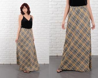Vintage 70s Maxi Skirt A Line High Waist Plaid Striped Medium Large M L 10761