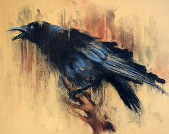 Original Charcoal Drawing of a Raven Black and White Crow Art 12x8""