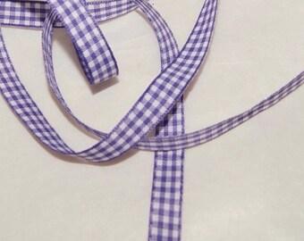 Gingham Ribbon 3/8 inch,Trim, Eggplant Purple, 4 yards, Mixed Media, Bow ribbon, Scrapbook (G 01)
