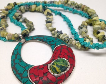 Turquoise, yellow turquoise, and coral necklace