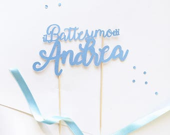 Cake Topper for christening pearl or opaque custom cardboard with name or phrase