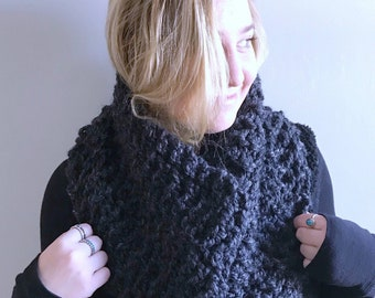 "Chunky knit Cowl / Infinity Scarf / Color - Charcoal / ""Kingston"" cowl"