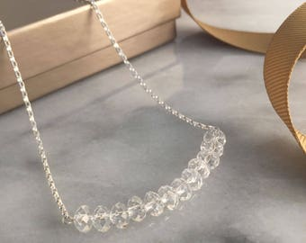 Delicate Wedding Necklace, Dainty Wedding Necklace, Delicate Wedding Jewelry, Dainty Crystal Necklace, Dainty Wedding Jewelry