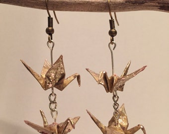 Earrings origami paper cranes gold Pailletescadeaux Christmas gift Christmas