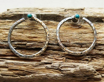 Turquoise Hoops in Sterling Silver