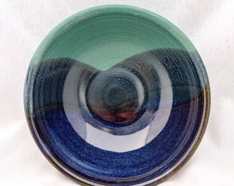 Green, blue, and black bowl with a mountain landscape pattern (20 oz)- small serving bowl, soup bowl, cereal bowl, mountain bowl