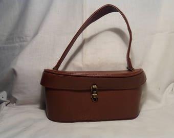 Vintage 1960's Brown Leather Handbag - NEW