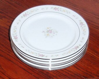 """6 LENOX MEADOW PINKS White China 6 3/8"""" Bread Butter Dessert Plates 1980's Bouquet Collection Japan Six Pastel Floral Excellent Condition"""