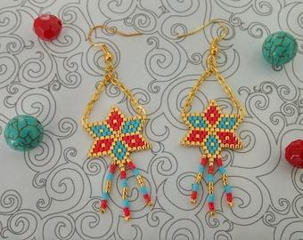 Brickstitch star earrings