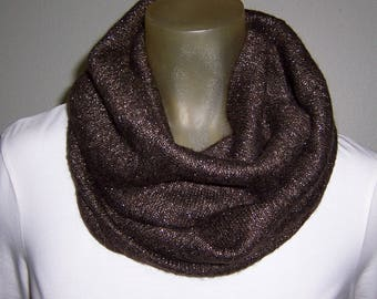 Infinity Scarf, Brown Infinity Scarf, Scarf with Gold, Wide Infinity Scarf