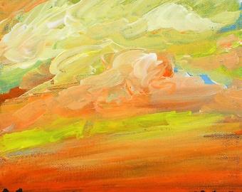 sky painting, Brilliant Sky, original acrylic painting on canvas, cloud painting, landscape, original art, sunset, sunrise