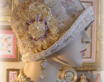 Antique Style 1920s Gatsby Flapper Downton Abbey Cloche Silk Hat - Antique Lace - Silk Hand Embroidery