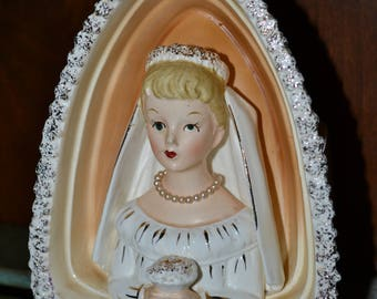 Napco Ceramic BRIDE Madonna Planter LADY 7x5 Virgin STATUE Plant Prayer Peace Sacred Heart Wedding Pearl Necklace Bouquet Alter Bridal Gift