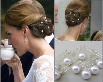 Set Of 10 Kate Middleton Bridal Pearl Hairpins,wedding Pearl Hair Pins,Bridal Hairpins,Wedding Hairpin,Pearls Bobby Pins,Celebrity Style
