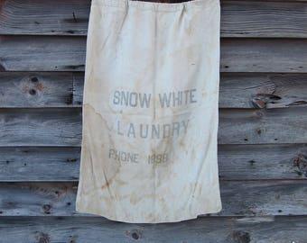 Vintage Snow White Laundry Bag 1940s Linen Cinch Tie White Sack