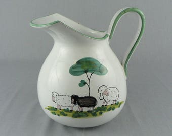 Water Pitcher Artisan Hand Painted and Signed on the Bottom, Sheep Grazing by a Tree  SKU: 1517.02162