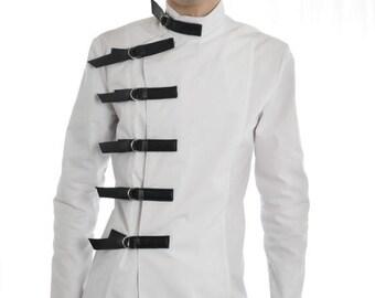 Men's Medical Style Buckle Jacket goth gothic cyber fetish clubwear medical fetishwear costume steampunk sci-fi mad scientist