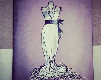 Dress painted on canvas