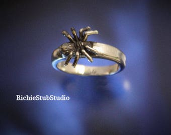 Itsy Bitsy Spider Ring Sterling Silver Scary Spider Jewelry