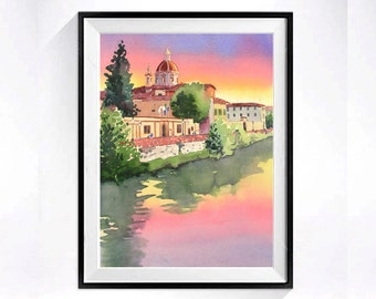 Florence Italy, Travel Art, Watercolor Print, Sunset painting, Ponte Vecchio, Bridge, Church, Chapel, Cityscape, pink, green, Sale