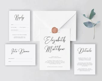 Diy wedding invites etsy calligraphy wedding invitation template editable stationary suite printable diy wedding invites junglespirit Images