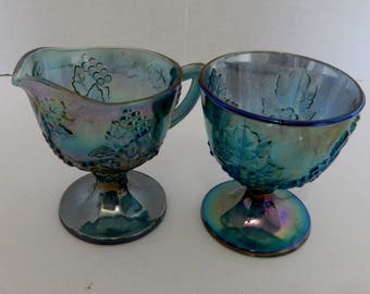 Indiana Glass Blue Carnival Harvest Grape Creamer and Open Sugar Bowl Iridescent